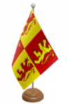 Owain Glyndwr Desk / Table Flag with wooden stand and base